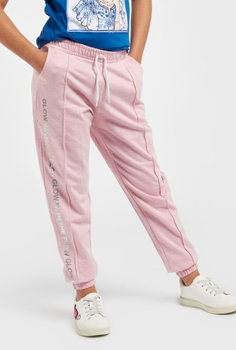 Typographic Print Full-Length Joggers with Drawstring Closure and Pockets