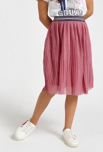 Shimmer Knee Length Skirt with Pleats and Elasticated Waist