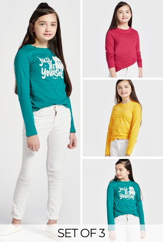 Set of 3 - Assorted T-shirt with Round Neck and Long Sleeves
