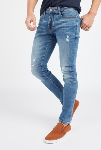 Slim Fit Distressed Jeans with Belt Loops and Pocket Detail