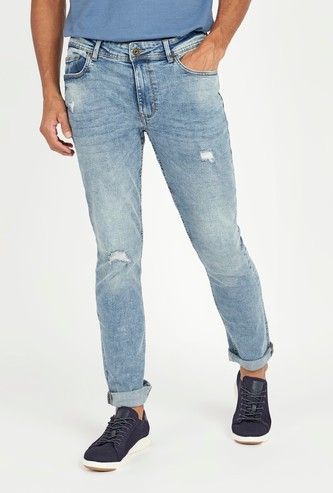 Slim Fit Distressed Jeans with Pocket Detail