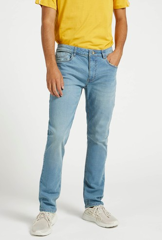 Solid Full Length Denim Jeans with Pockets and Button Up Closure