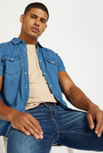 Denim Shirt with Buttoned Flap Pockets and Short Sleeves