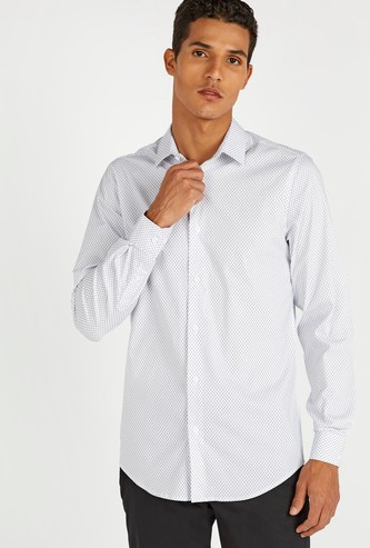 Slim Fit All Over Print Shirt with Long Sleeves and Spread Collar