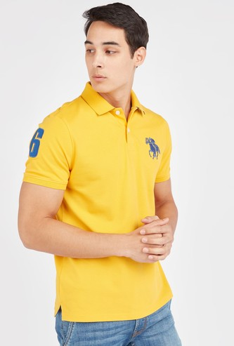 Embroidered Patch Polo T-shirt with Short Sleeves