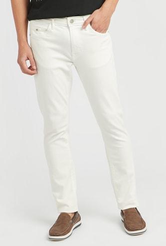 بنطلون جينز سادة طويل بخصر متوسط الارتفاع وجيوب وعراوي