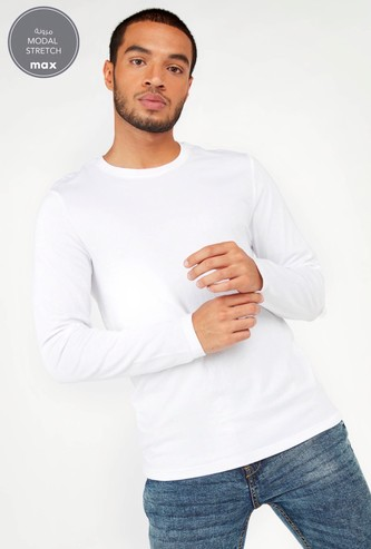 Solid T-shirt with Crew Neck and Long Sleeves