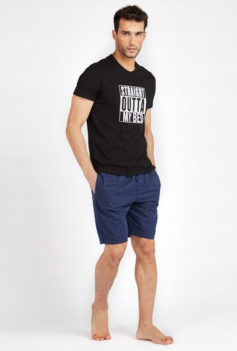 Printed Round Neck T-shirt and Striped Woven Shorts