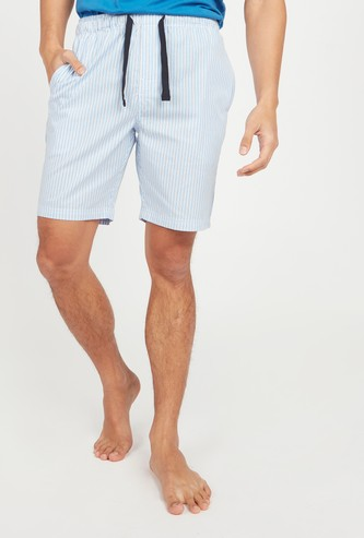 Striped Shorts with Pocket Detail and Drawstring