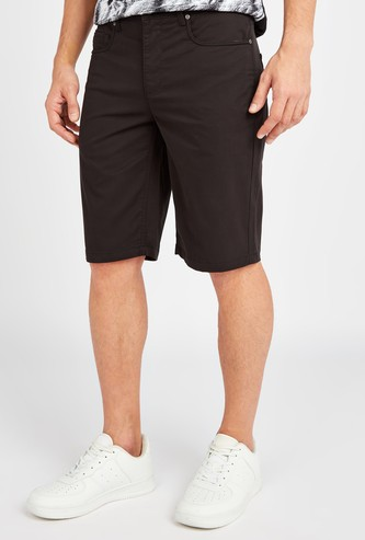 Solid Shorts with Pocket Detail