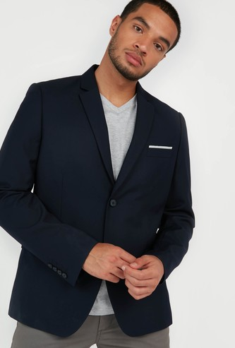Solid Formal Jacket with Notched Lapel and Long Sleeves