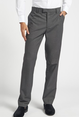 Solid Slim Fit Full-Length Formal Pants with Button Closure