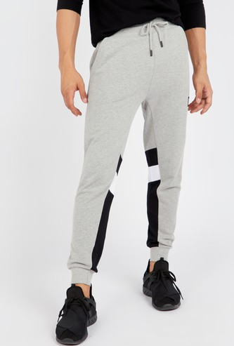 Slim Fit Panel Detail Jog Pants with Pocket and Drawstring Closure
