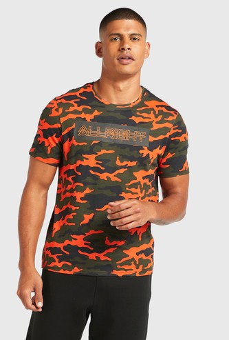 Camo Print Longline T-shirt with Round Neck and Short Sleeves