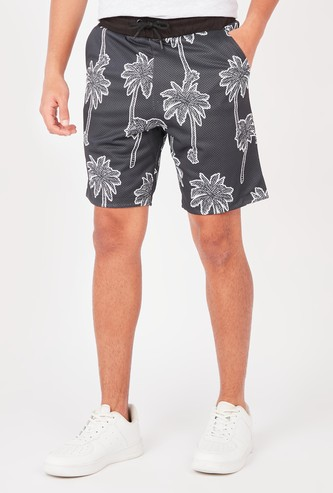 Printed Mid-Rise Shorts with Pocket Detail and Drawstring Closure