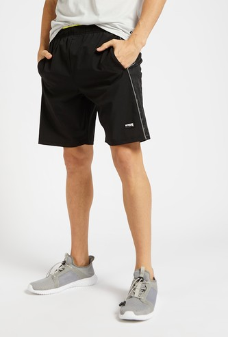Slim Fit Shorts with Piping Detail and Elasticised Waistband