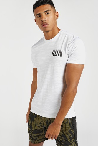 Back Placement Print T-shirt with Crew Neck and Short Sleeves