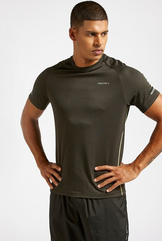 Textured Activewear T-shirt with Contrast Stitch and Short Sleeves