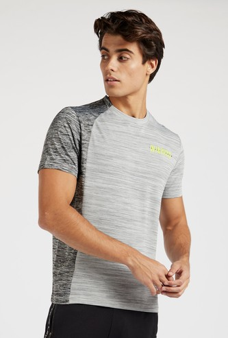 Printed Panel Block T-shirt with Crew Neck and Short Sleeves