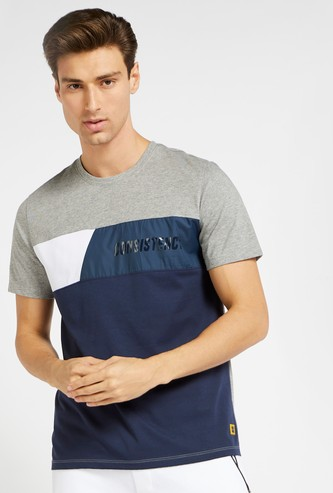Colourblocked Crew Neck T-shirt with Short Sleeves