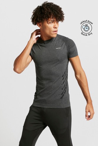 Performance Compression T-shirt with Crew Neck and Short Sleeves