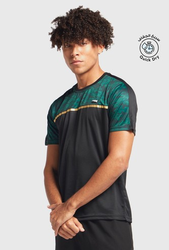 Camouflage Print T-shirt with Panel Detail and Short Sleeves