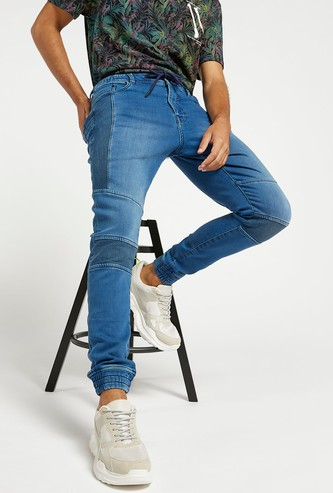 Slim Fit Solid Mid-Rise Denim Jog Pants with Pocket Detail