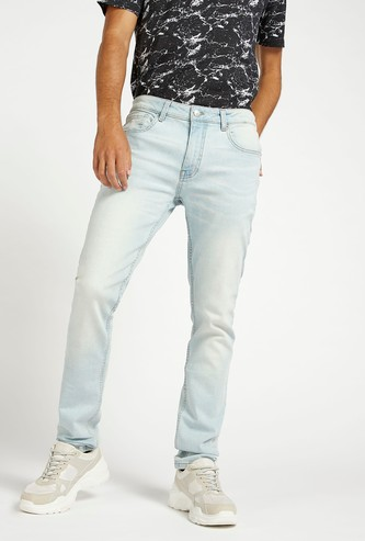 Skinny Fit Solid Mid-Rise Jeans with Pockets and Belt Loops