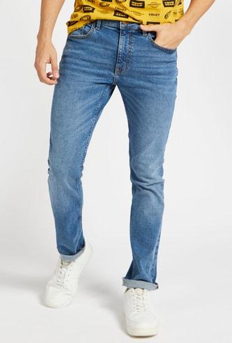 بنطلون جينز طويل بجيوب وزر اغلاق