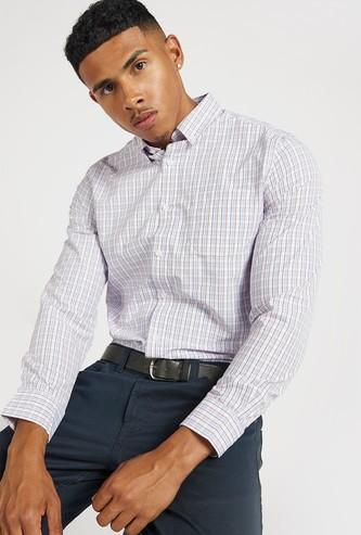 Chequered Button Through Shirt with Long Sleeves