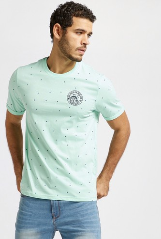 All-Over Printed Round Neck T-shirt with Short Sleeves