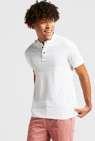 All-Over Print T-shirt with Henley Neck and Short Sleeves