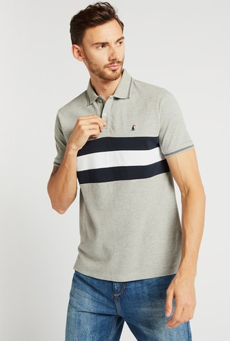Textured Panel Polo T-shirt with Short Sleeves
