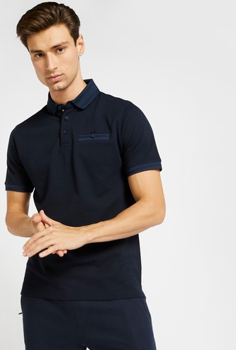 Textured Polo T-shirt with Short Sleeves and Slit Pocket