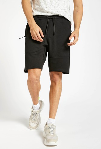 Solid Mid-Rise Shorts with Drawstring and Pockets