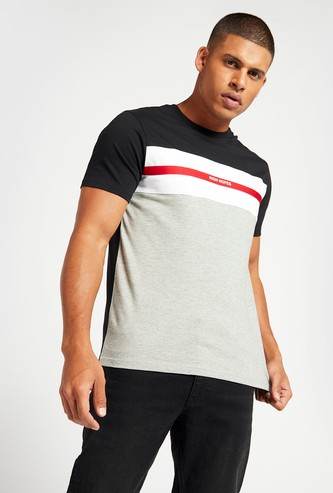 Text Print Panelled T-shirt with Crew Neck and Short Sleeves