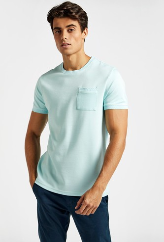 Textured T-shirt with Crew Neck and Chest Pocket