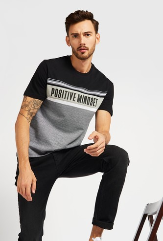 Text Print Jacquard T-shirt with Crew Neck and Panel Detail
