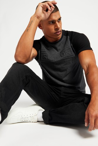 Text Embossed Print T-shirt with Crew Neck and Raglan Sleeves