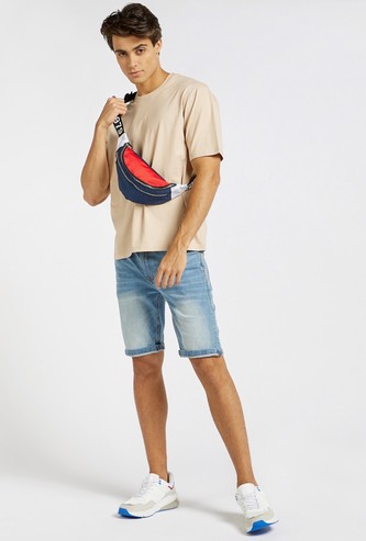 Oversized Solid T-shirt with Round Neck and Short Sleeves