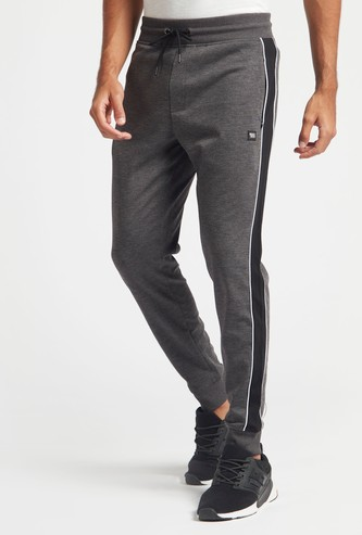 Full-Length Pin Striped Panel Jog Pants with Pocket Detail