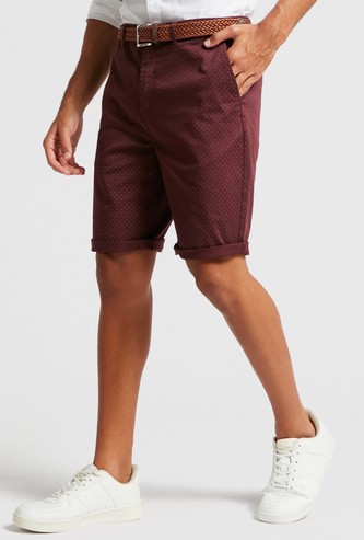 Printed Mid-Rise Chino Shorts with Slip Pockets