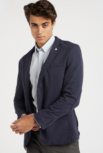 Slim Fit Textured Blazer with Long Sleeves and Spread Collar