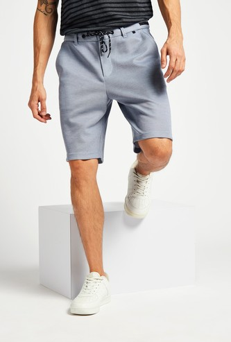 Slim Fit Solid Knit Shorts with Pocket Detail and Belt Loops