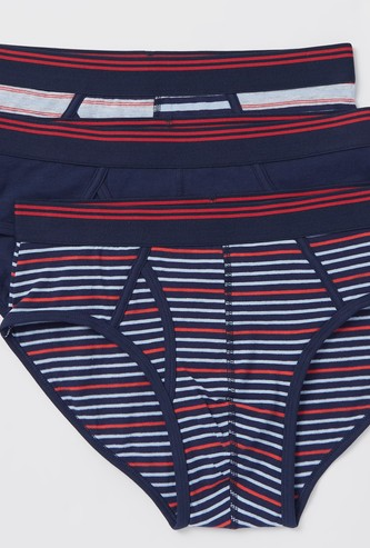 Pack of 3 - Striped Briefs with Elasticised Waistband