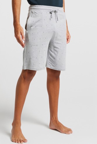 All-Over Print Knit Shorts with Pockets and Drawstring Closure