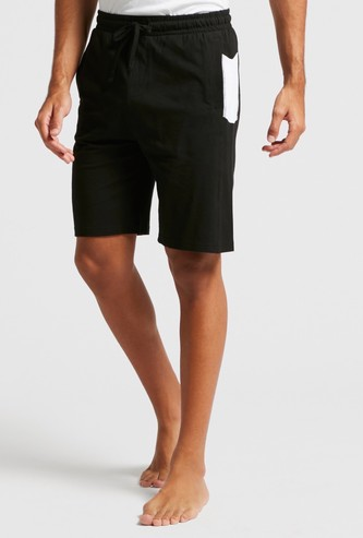 Dual-Tone Knitted Lounge Shorts with Drawstring Closure