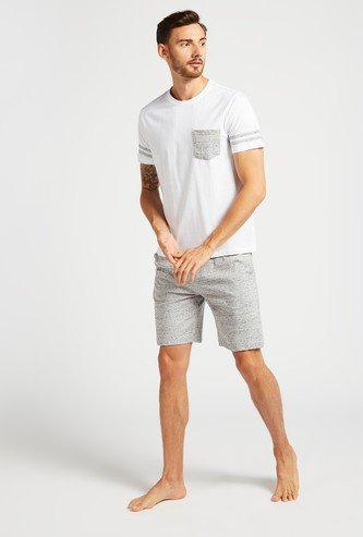 Printed Short Sleeves T-shirt with Shorts Set
