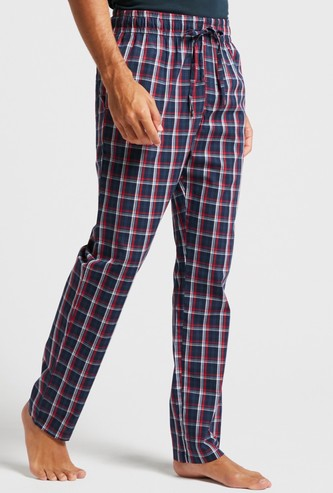 Checked Pyjamas with Drawstring Closure