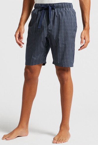 Checked Shorts with Pocket Detail and Drawstring Closure